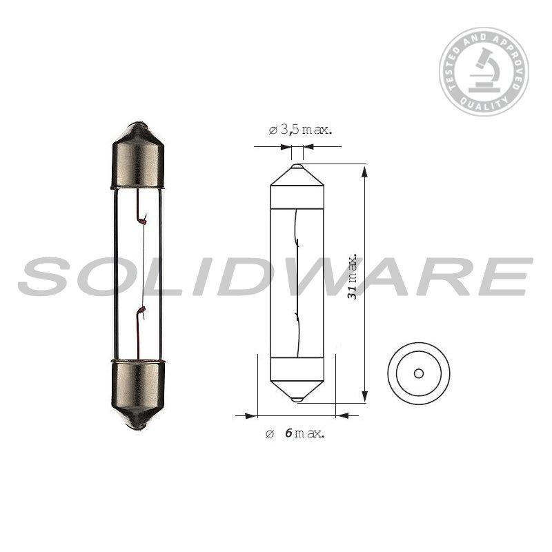 Innenraum Soffitte 12V 3W SV6 6x31mm Soffittenlampe 10 Stk